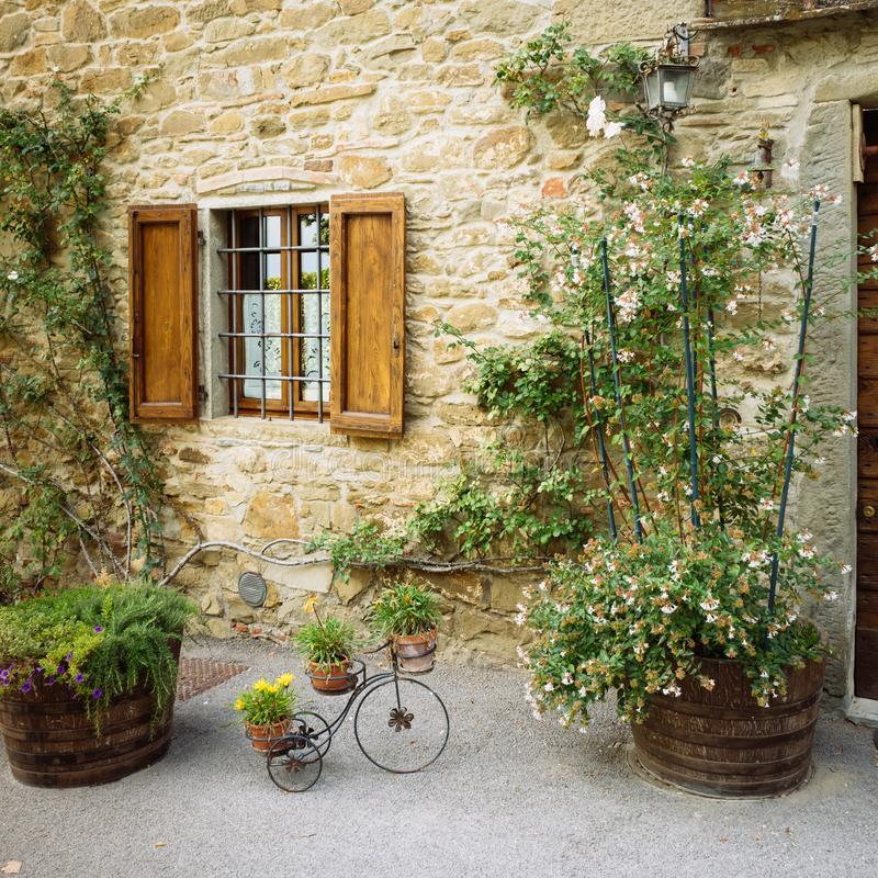 Beautiful flowers and bushes in front of stone wall in a small village of medieval origin. Volpaia, Tuscany, Italy. Beautiful flowers and bushes in front of stock photography