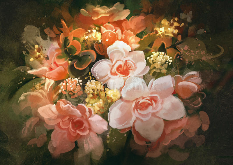 Beautiful flowers,color blooming,painting royalty free illustration