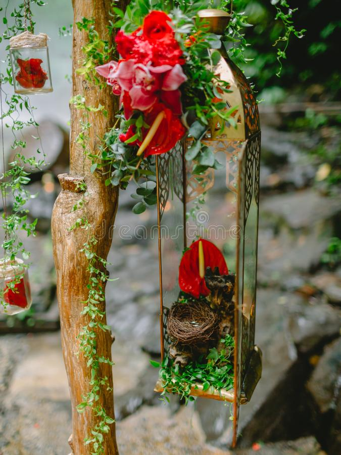 Beautiful flowers and decorations for arch. Beautiful flowers and decorations for wedding arch stock image