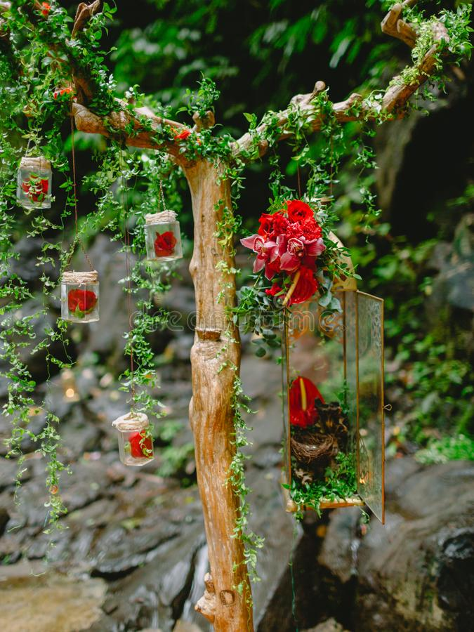 Beautiful flowers and decorations for wedding. Arch stock image
