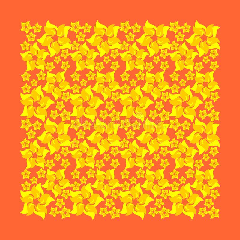 Yellow flowers on an orange background royalty free illustration