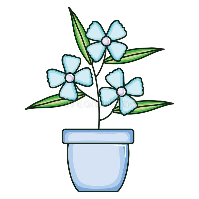 Beautiful flowers garden in ceramic pot. Vector illustration design vector illustration