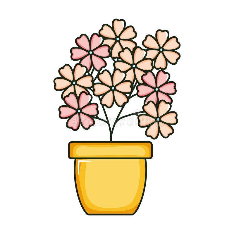 Beautiful flowers garden in ceramic pot. Vector illustration design royalty free illustration