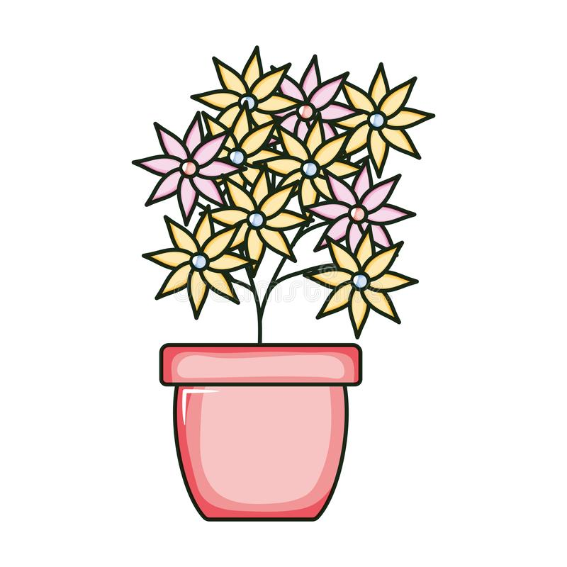 Beautiful flowers garden in ceramic pot. Vector illustration design stock illustration