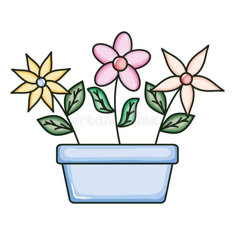 Beautiful flowers garden in square ceramic pot. Vector illustration design royalty free illustration