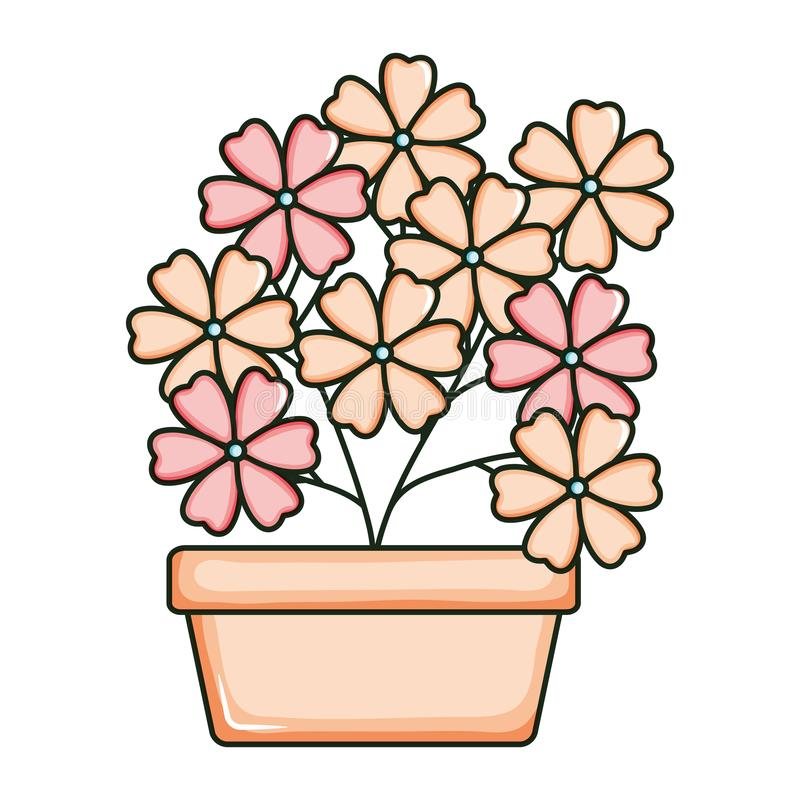 Beautiful flowers garden in square ceramic pot. Vector illustration design vector illustration