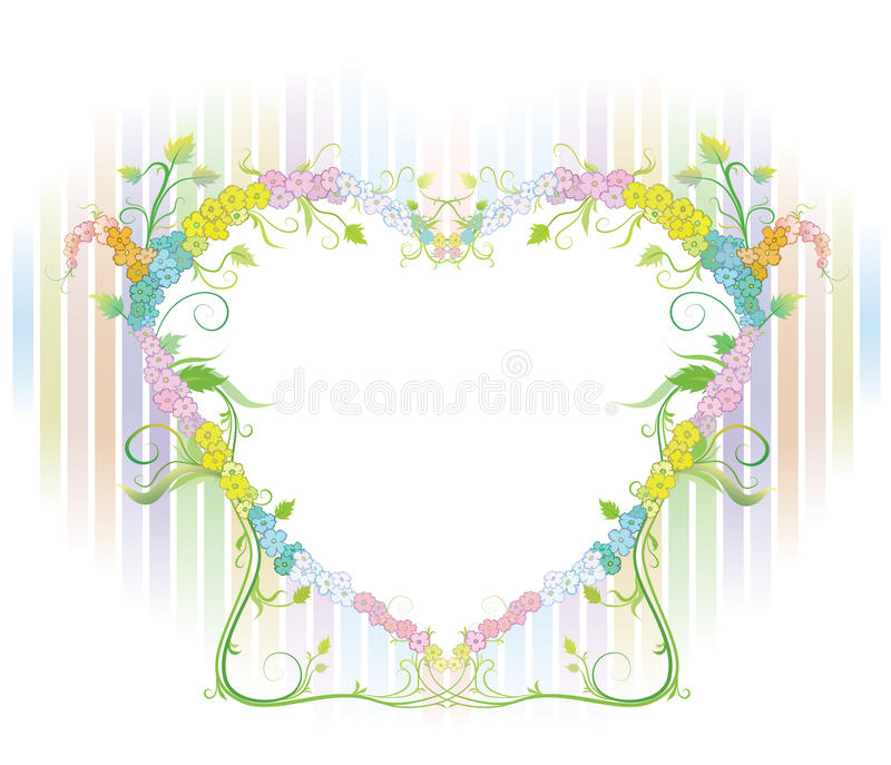 Beautiful flowers with heart royalty free stock photo