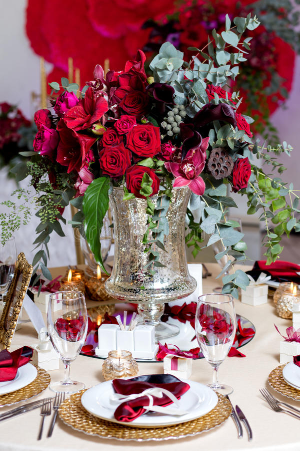 Beautiful flowers on table in wedding day. Luxury holiday background. stock photos