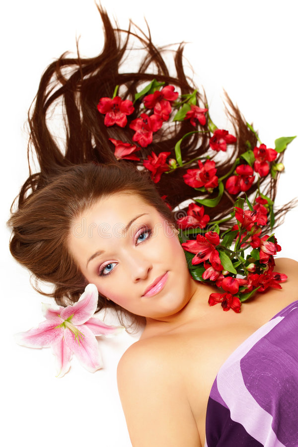 beautiful flowers woman στοκ εικόνα