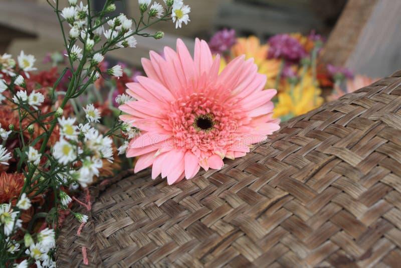 Beautiful flowers on wood background stock photo
