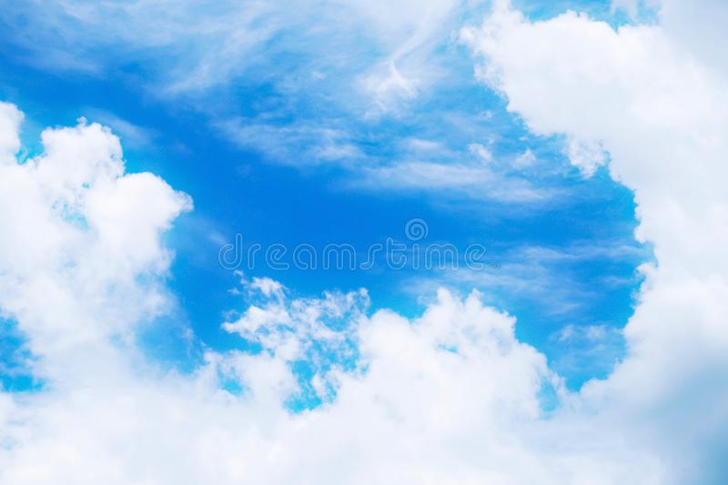 Beautiful fluffy white clouds with blue sky, Nature background. royalty free stock image