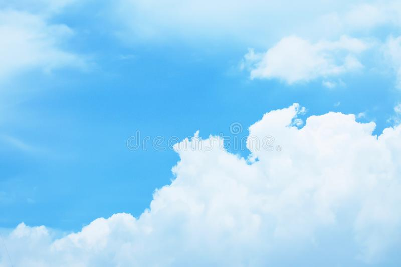 Beautiful fluffy white clouds with blue sky, Nature background. stock photography