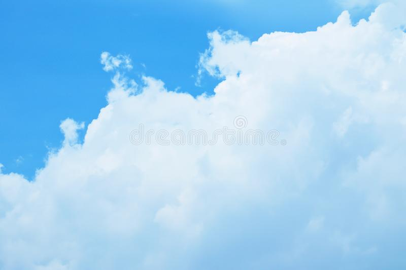 Beautiful fluffy white Cumulus clouds with blue sky, Nature background.  royalty free stock photography