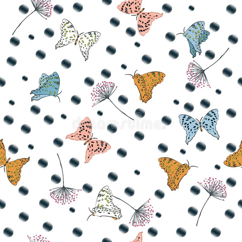 Beautiful flying butterflies seamless pattern vector on hand drawn polka dots sketch with wind blowing flowers royalty free illustration