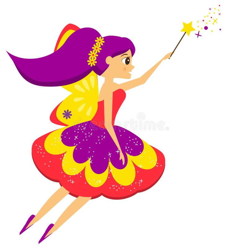 Beautiful flying fairy flapping magic wand. Elf princess. Cartoon style. Flying fairy flapping magic wand. Elf princess in cartoon style. Isolated vector royalty free illustration