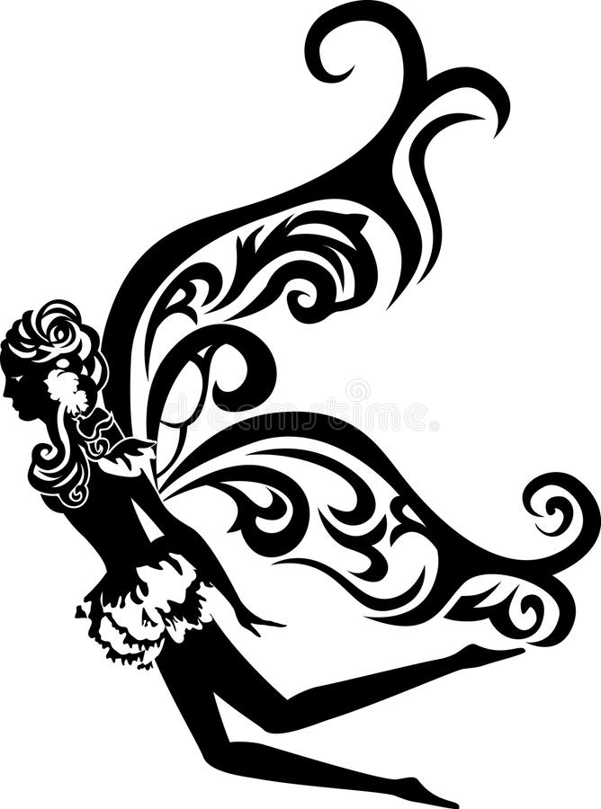 Download Beautiful Flying Fairy Stencil Stock Vector - Image: 22378556