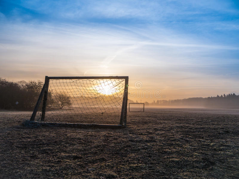 Football Soccer Pitch Foggy Morning Stock Images