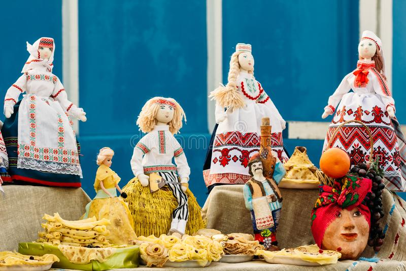 Beautiful folk rag dolls from Belarus. Souvenir. Belarusian national Rag doll. Folk art and souvenir royalty free stock images