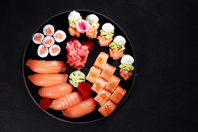 Beautiful food, nigiri sushi and maki rolls set royalty free stock image