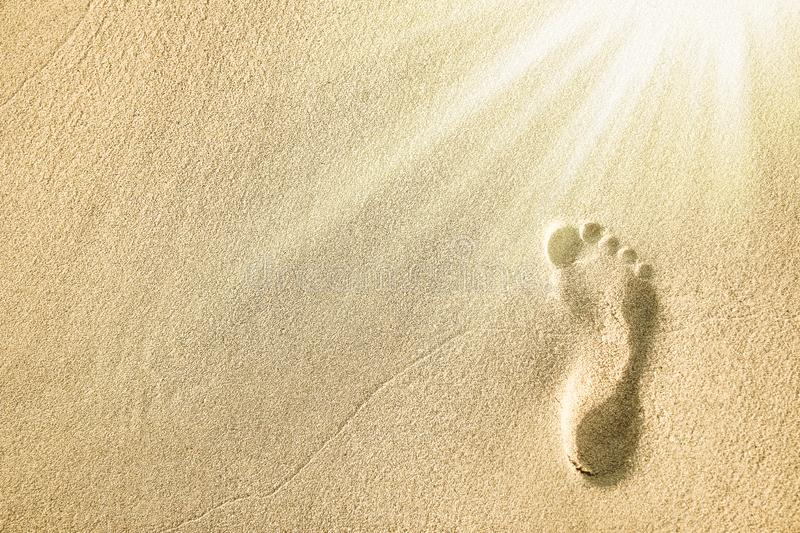 Beautiful footprints in the sand near the sea on nature background stock photo