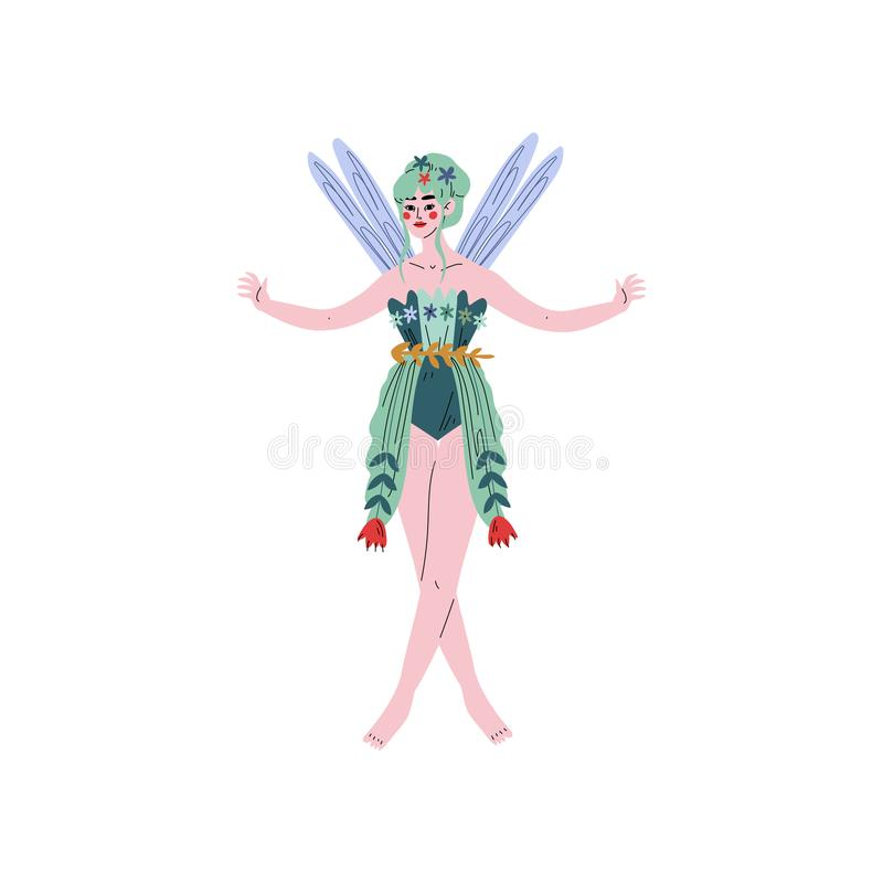 Beautiful Forest Fairy or Nymph with Wings Vector Illustration. On White Background royalty free illustration