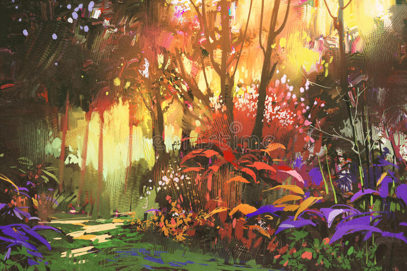 Beautiful forest with sunlight stock illustration