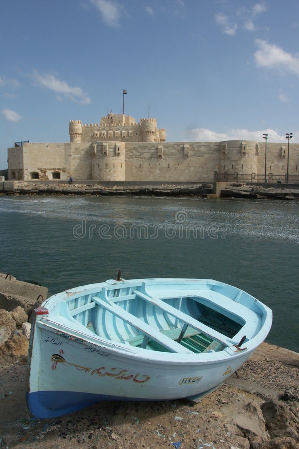 Beautiful Fort Qaitbey in Alex. Andria Egypt stock photography