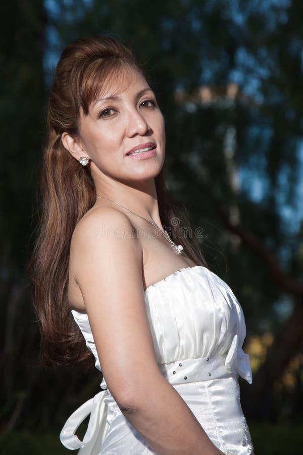 Beautiful Forties Asian Woman Bride Stock Images
