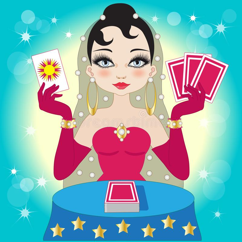 Beautiful fortune-teller in a red dress with tarot cards royalty free illustration