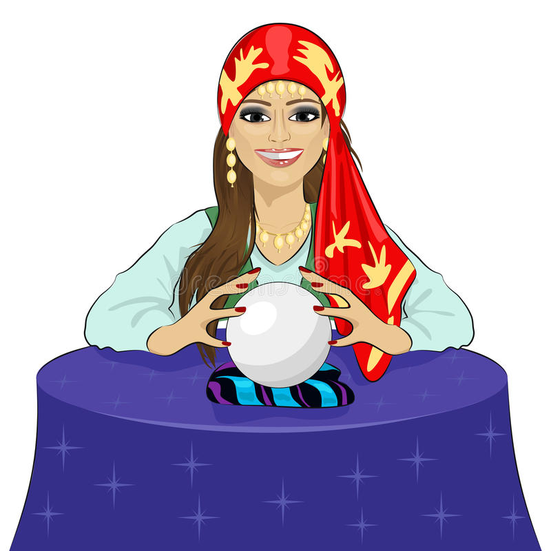 Beautiful fortune teller woman reading future on magical crystal ball royalty free illustration