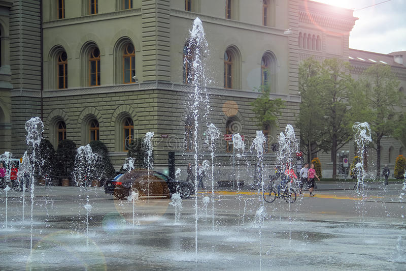 Beautiful fountain jets spurting out of the ground royalty free stock photo
