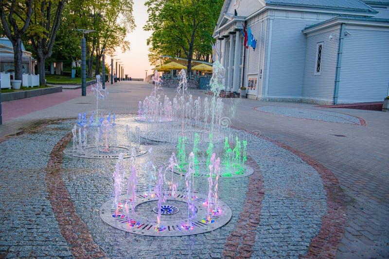 Beautiful fountain in Jurmala royalty free stock photography