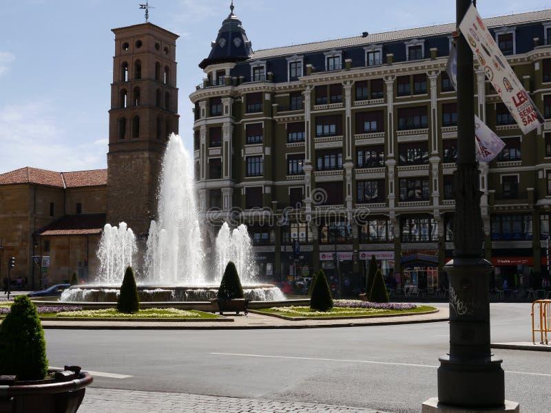 Beautiful fountain in León royalty free stock photo
