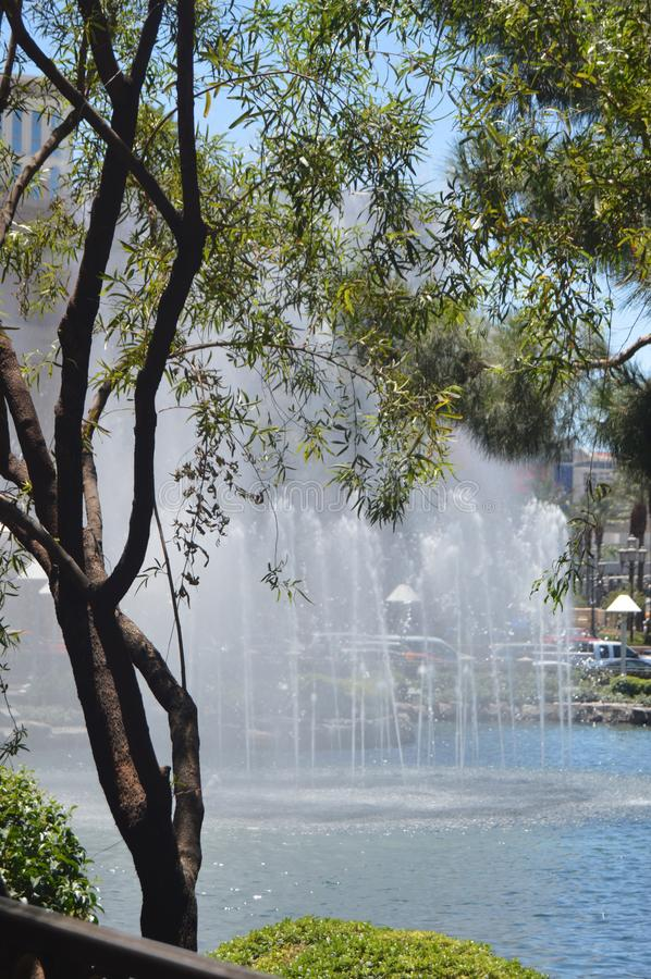 Beautiful Fountain Of One Of The Las Vegas Strip Hotels. Travel Vacation. June 26, 2017. Las Vegas Strip, Las Vegas Nevada USA EEUU royalty free stock photo