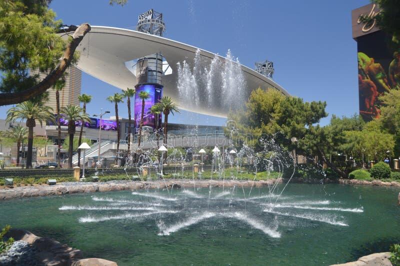Beautiful Fountain Of One Of The Las Vegas Strip Hotels. Travel Vacation. June 26, 2017. Las Vegas Strip, Las Vegas Nevada USA EEUU royalty free stock images