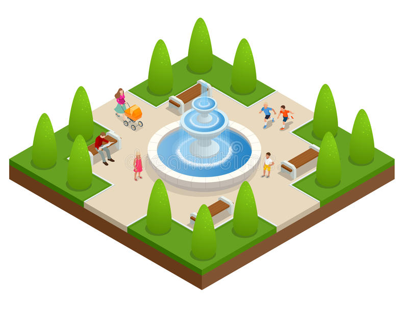 Beautiful fountain in the park. A zone of rest and relaxation. Children play near the fountain. Flat vector isometric on stock illustration