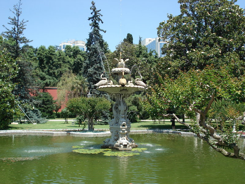 Beautiful fountains of Dolmabahce palace, Istanbul royalty free stock photography