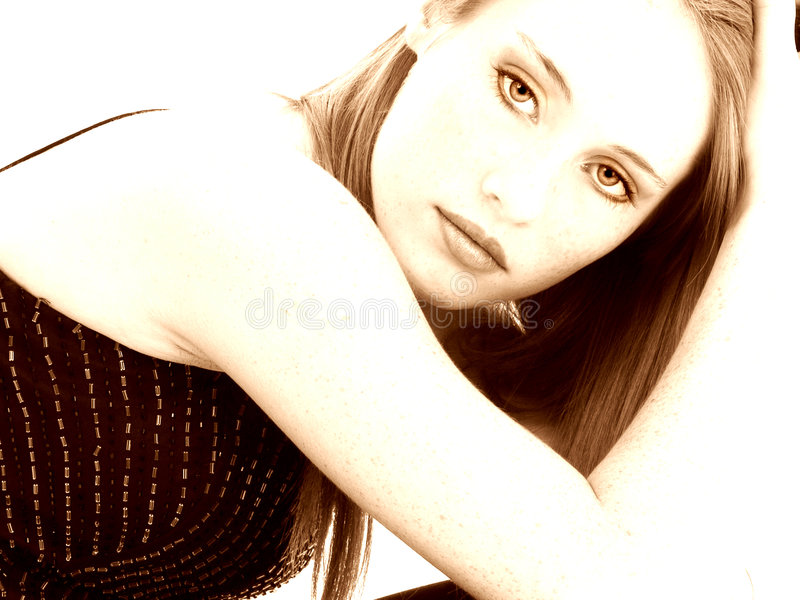 Beautiful Fourteen Year Old Girl In Sepia Stock Photo