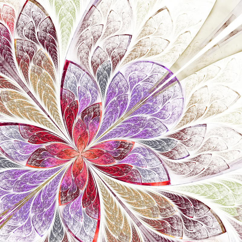 Beautiful fractal flower in beige, violet and red. royalty free illustration