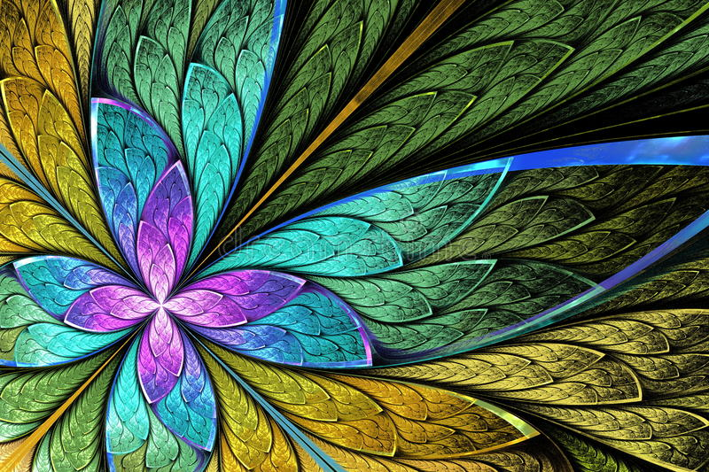 Beautiful fractal flower or butterfly in stained glass window st stock images