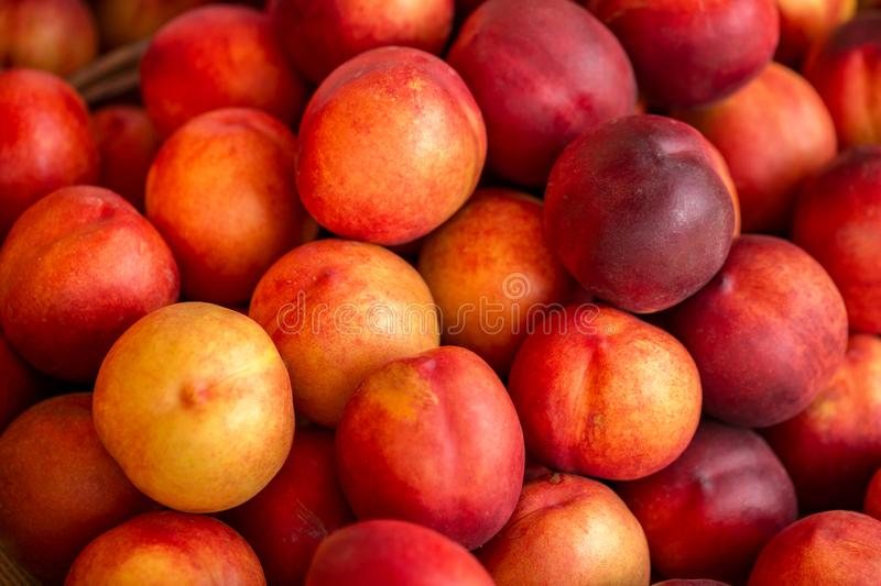 A beautiful fragrant ripe nectarine, the view from the top.  stock photo
