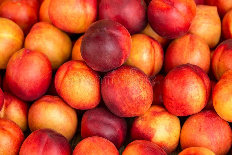 A beautiful fragrant ripe nectarine, the view from the top.  royalty free stock image