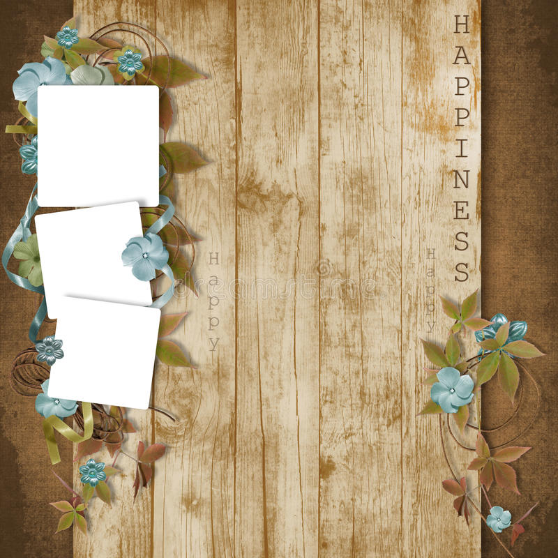 Beautiful Frame With Flowers On Grunge Background Royalty Free Stock Photo