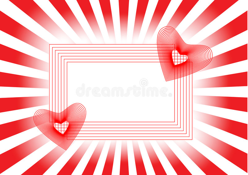 beautiful frame hearts rays red two διανυσματική απεικόνιση