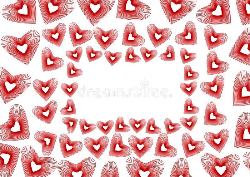 beautiful frame hearts red διανυσματική απεικόνιση
