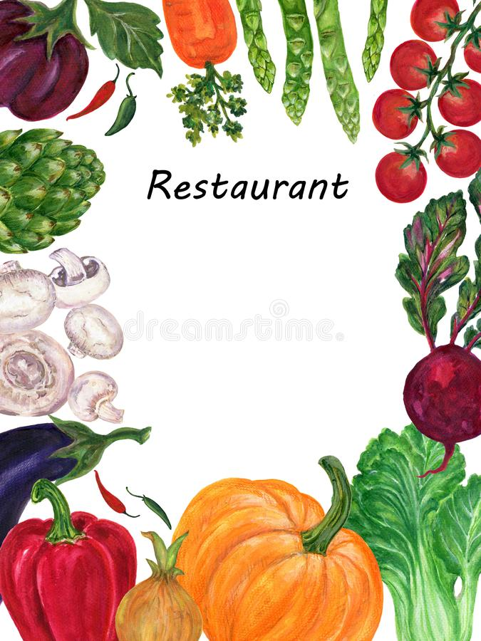 Beautiful frame invitation card with hand painted watercolor fruit and vegetable on white background stock illustration stock illustration
