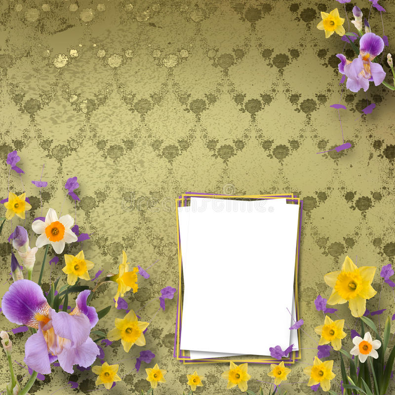 Beautiful frame with irises and daffodils