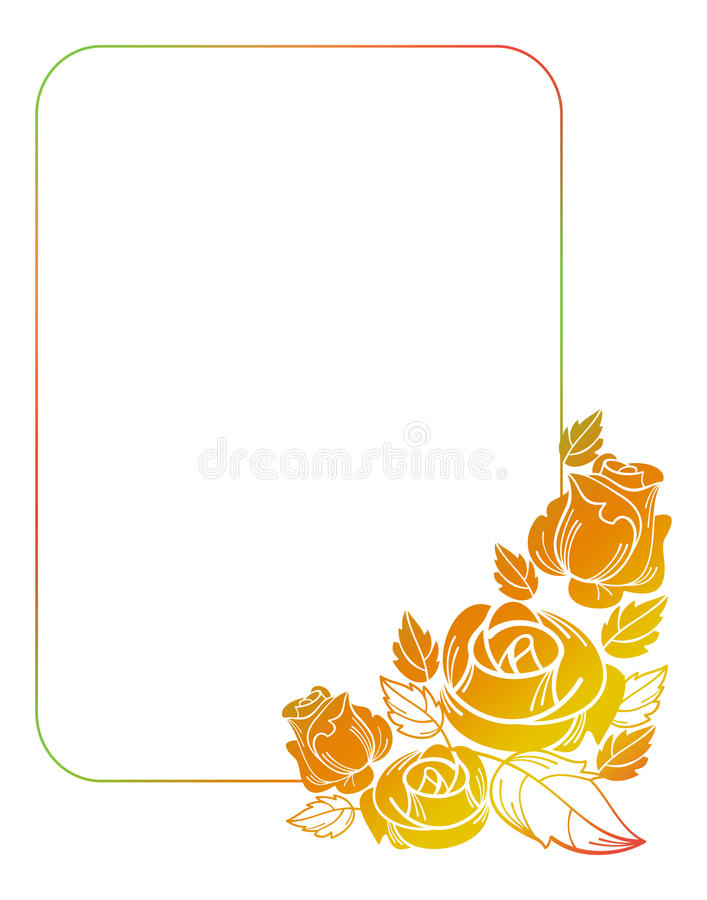 Beautiful frame with roses silhouettes. Gradient frame with roses. Color frame with roses for advertisements, wedding invitations or greeting cards. Raster clip stock illustration