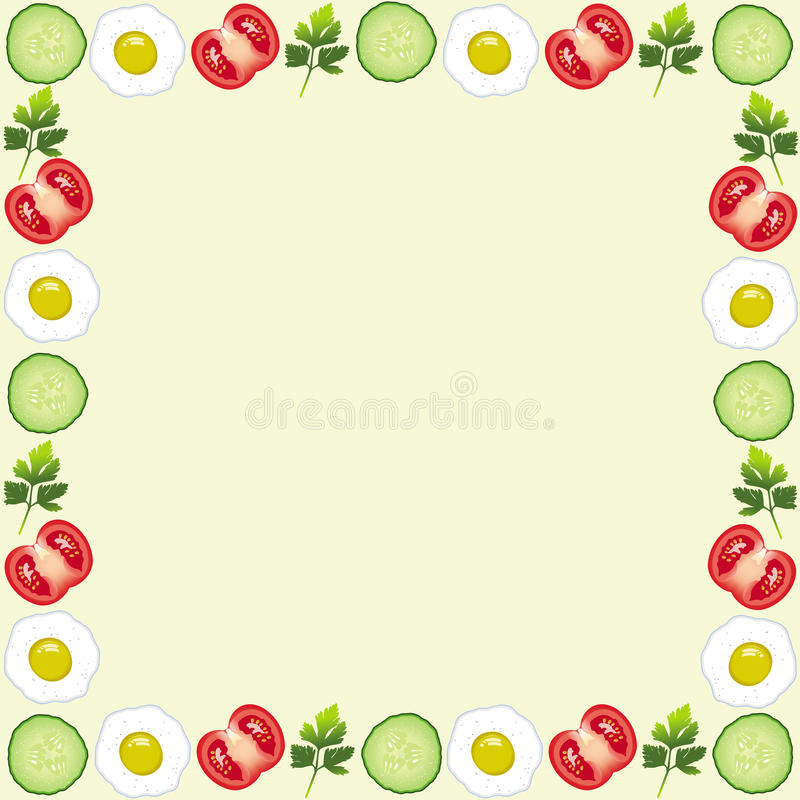 Beautiful frame with tomatoes, egg, cucumber, leaf royalty free illustration