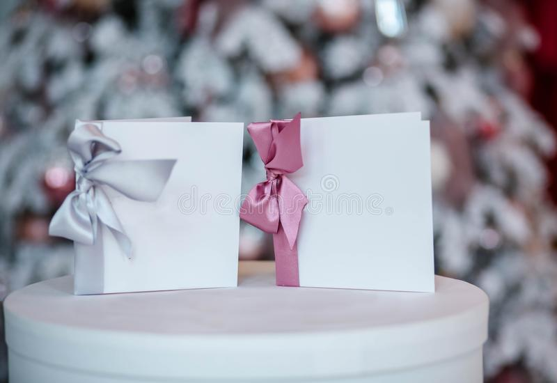Beautiful frames and other Christmas details in decorated room stock images
